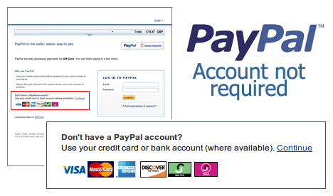 PayPal Account Not Required